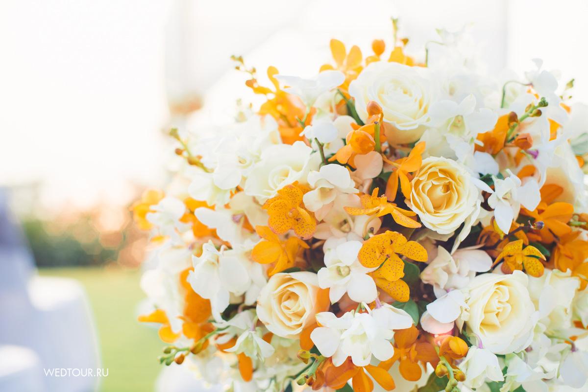 цветочное офрмление свадьдь,свадьба на пхукете,оранжевая свадьба