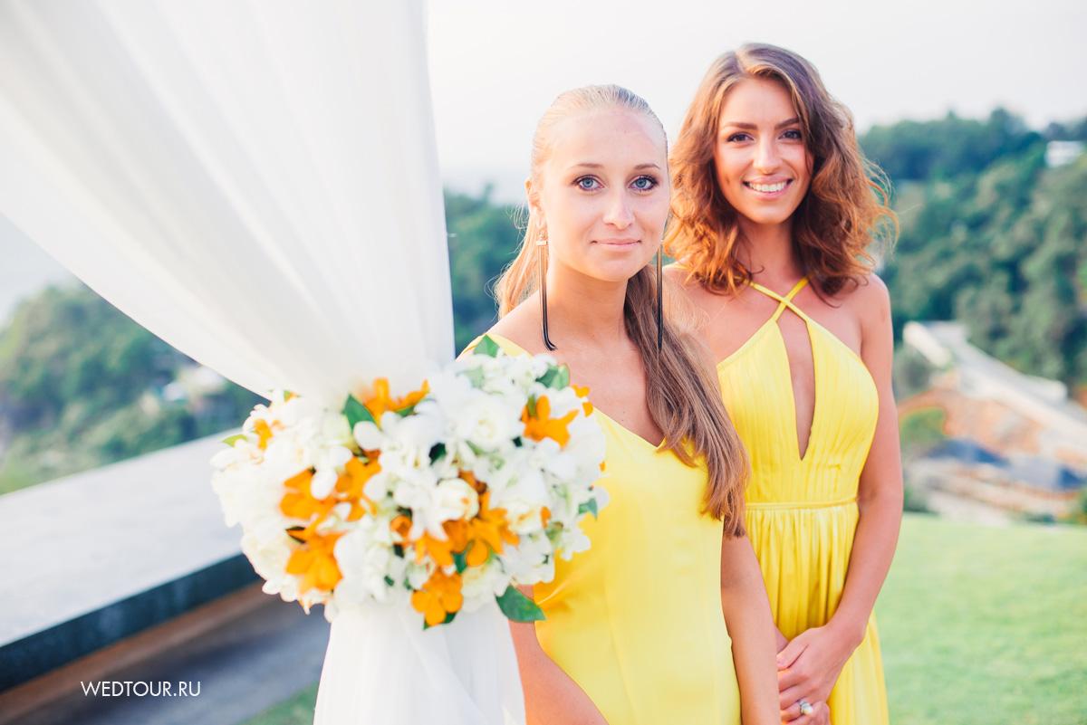 Подружки невесты в желтых платьях, лимонная свадьба,свадьба в таиланде