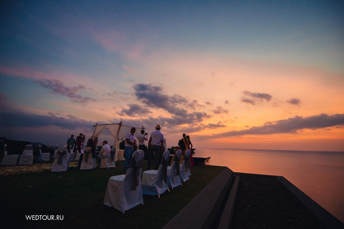 свадьба на острове Пкукет,свадьба на закате